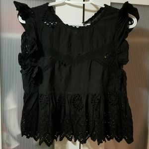Zara Black Sleveless Blouse with Lace Details